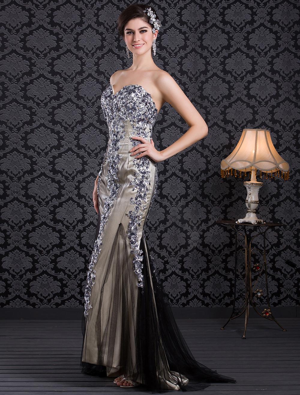 Shiny Mermaid Champagne Net Sequin Sweetheart Neck Sweep Prom Dress