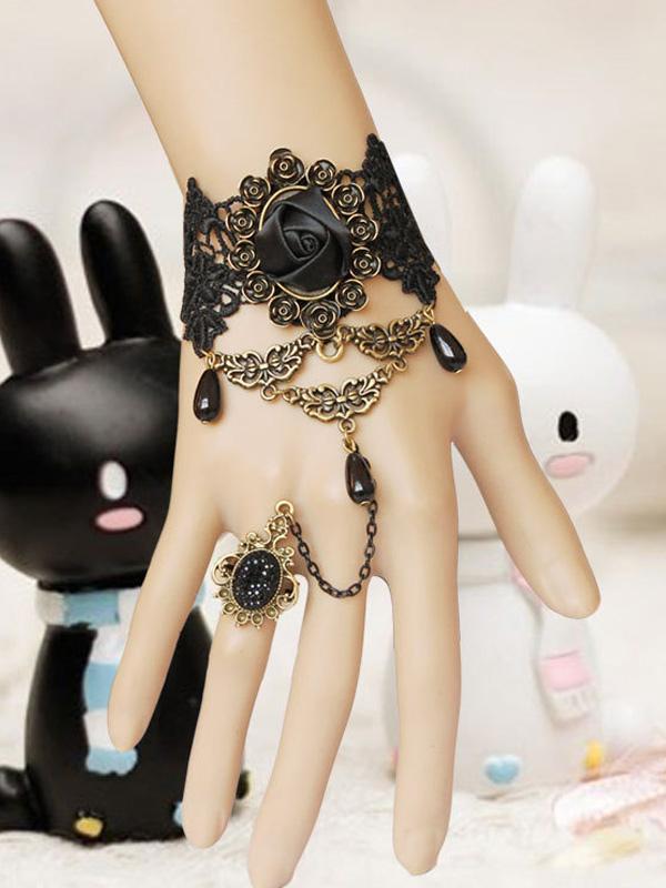 Vintage Black Floral Chain Lolita Bracelet