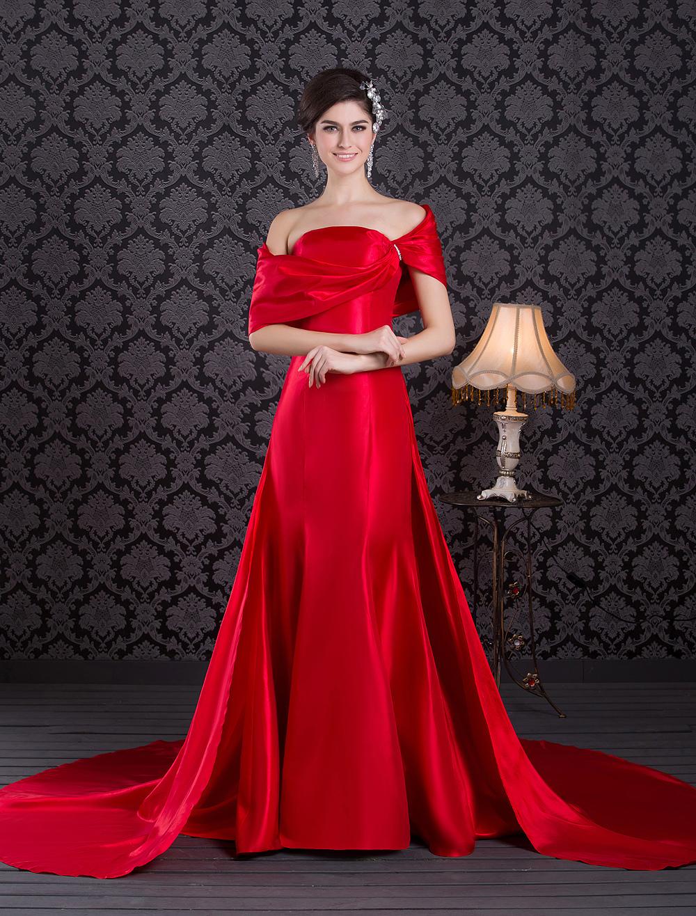 Elegant Red Taffeta Beading Strapless Fashion Evening Dress (Wedding Evening Dresses) photo