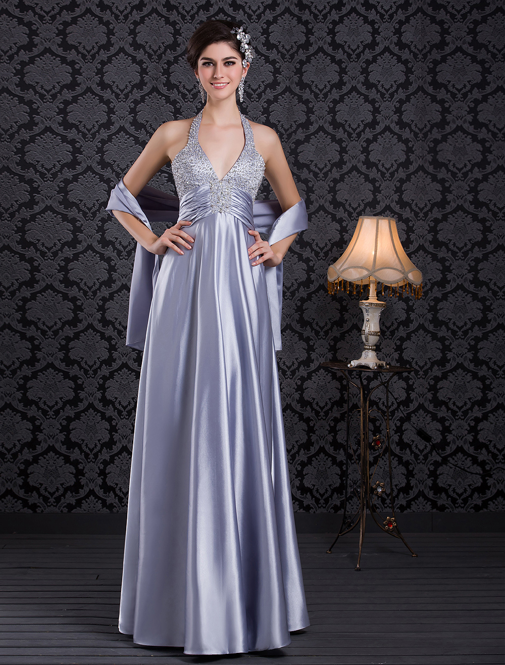 Baby Blue Evening Dress Halter Beading Party Dress V Neck Backless Satin Long Prom Dress (Wedding Evening Dresses) photo