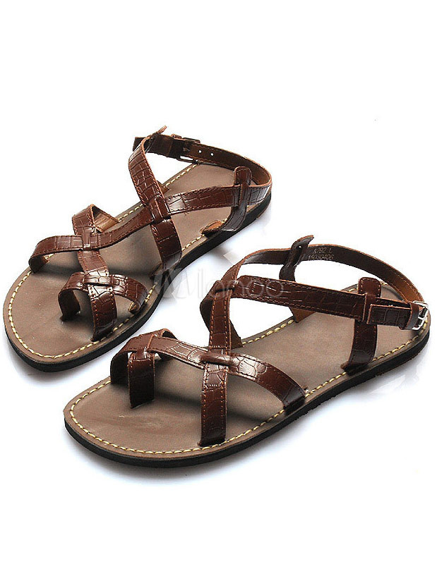 Stylish Strappy Cowhide Gladiator Sandals For Men ...
