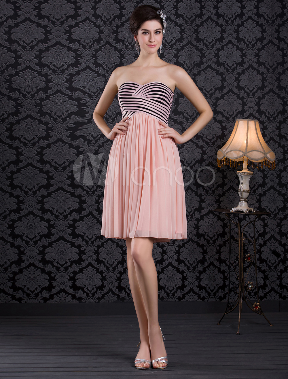 Princess Pink Satin Strapless Floor-Length Fashion Bridesmaid Dress