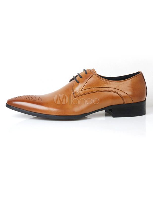 chaussures modernes homme lacets et bout pointu en peau de veau marron de tenue belle. Black Bedroom Furniture Sets. Home Design Ideas