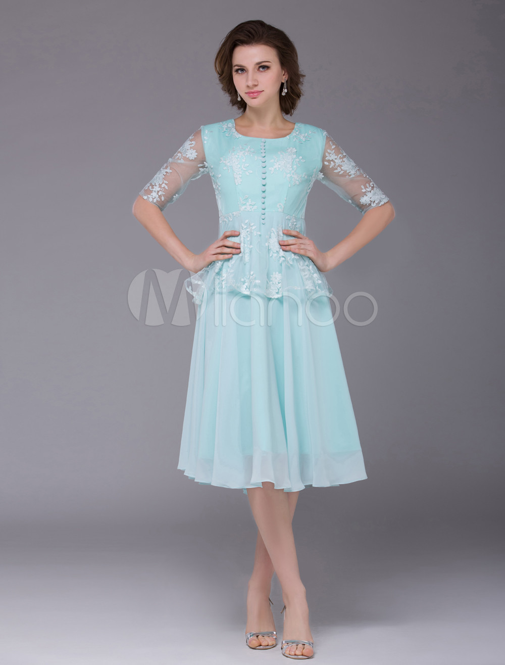 Chiffon Prom Dress Mint Green Round Neck Party Dress Lace Half Sleeve Front Button Cocktail Dress (Wedding Cocktail Dresses) photo