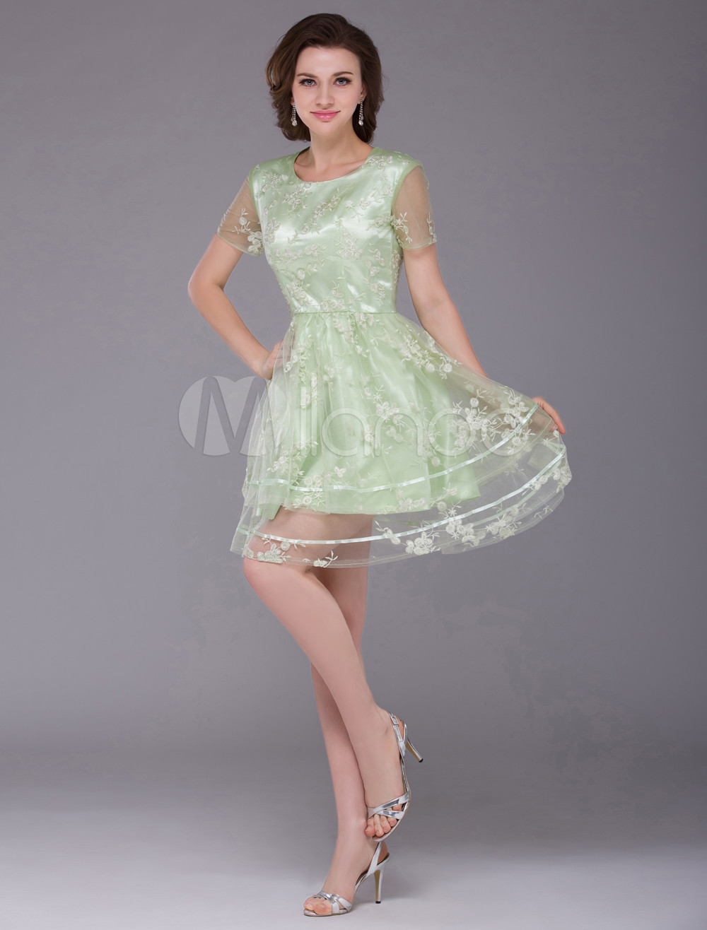 Sweet Sage Satin Lace Jewel Neck Short Wedding Bridesmaid Dress