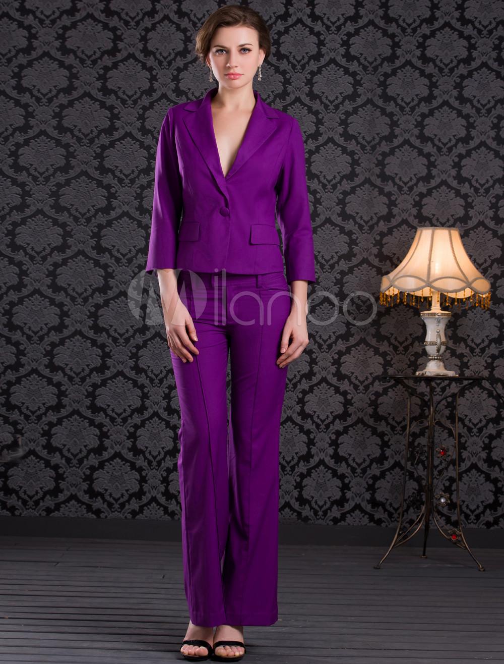 Deep Purple Buttons Polyester Pant Suit Lesbian Wedding Attire