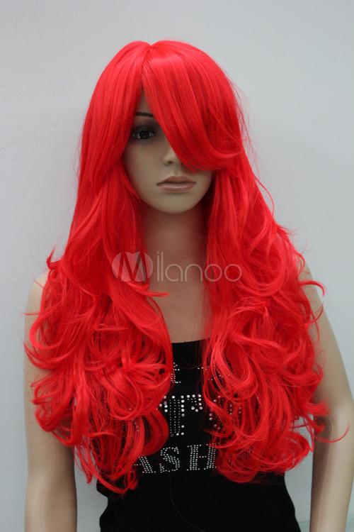 nouvelle perruque femme chic cuir d 39 agneau rouge cheveux rouge long et boucl s. Black Bedroom Furniture Sets. Home Design Ideas