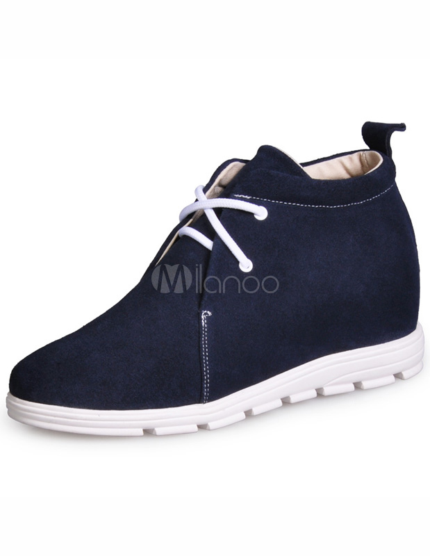 Formal Deep Blue Lace Up Cowhide Man's Elevator Shoes thumbnail