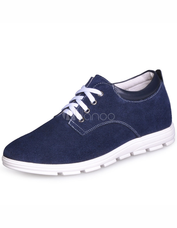 Formal Deep Blue Cowhide Elevator Shoes thumbnail