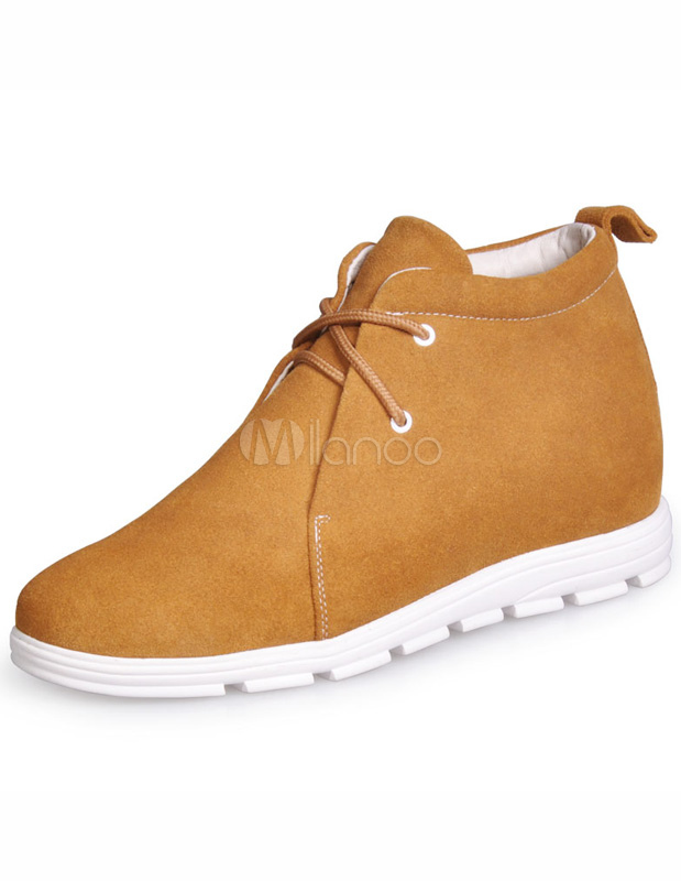 Formal Yellow Lace Up Cowhide Man's Elevator Shoes thumbnail
