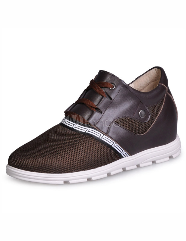 Formal Brown Nets Cowhide Man's Elevator Shoes thumbnail
