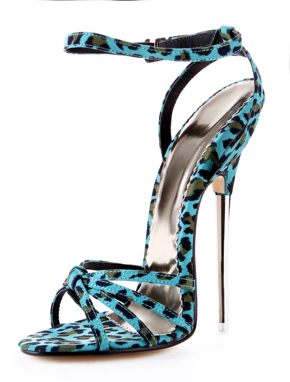 Elegant Green Leopard Print Cloth Women's Sexy Sandals
