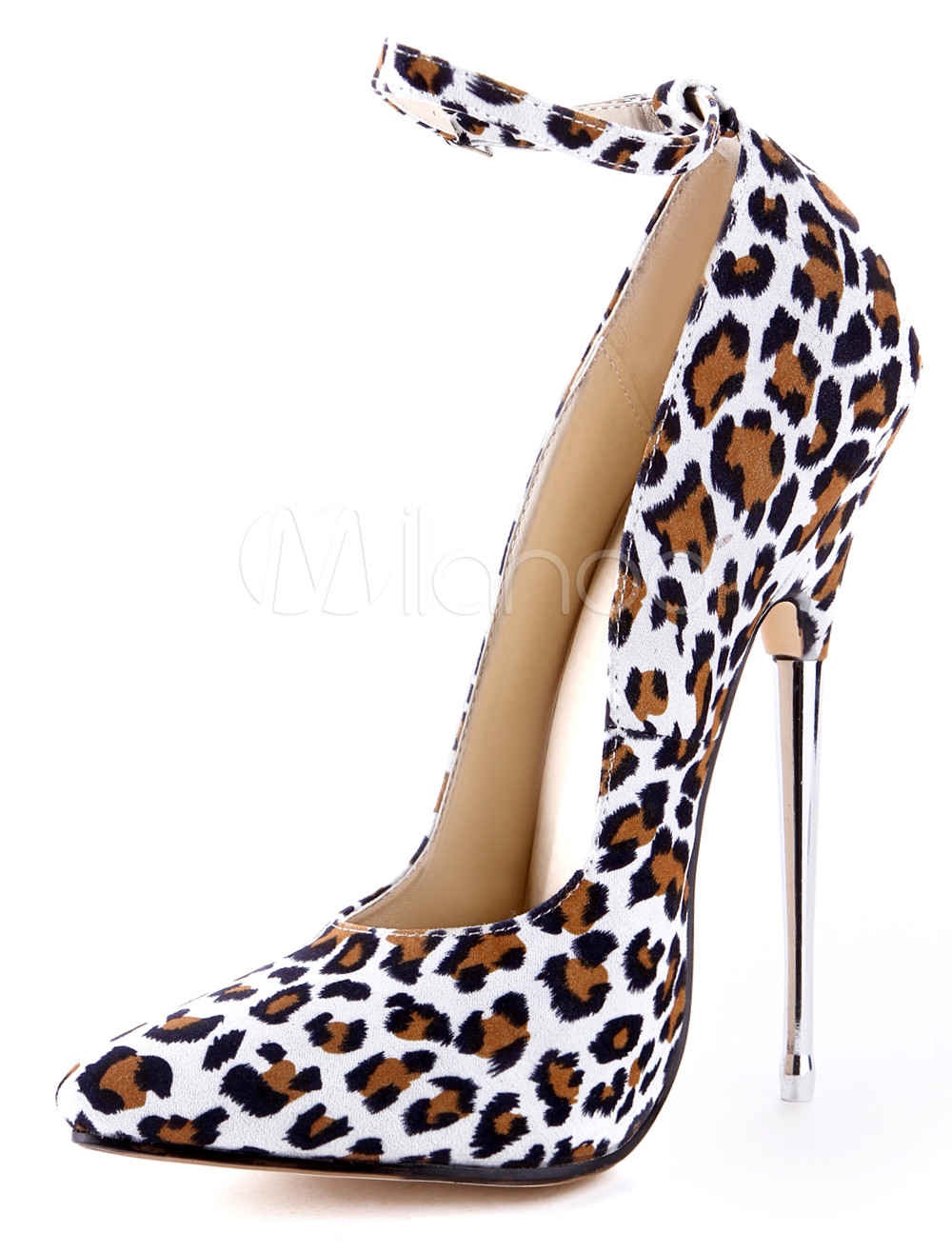 Chic White Leopard Print Pointed Toe Cloth Stilettos For Lady