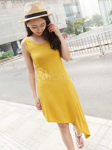 Amazing Yellow Asymmetrical Cut Out Modal Short Dress