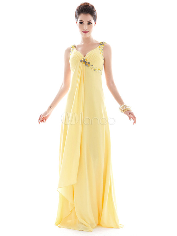 Beautiful Vintage Yellow Rhinestone Polyester V-Neck Maxi Dress