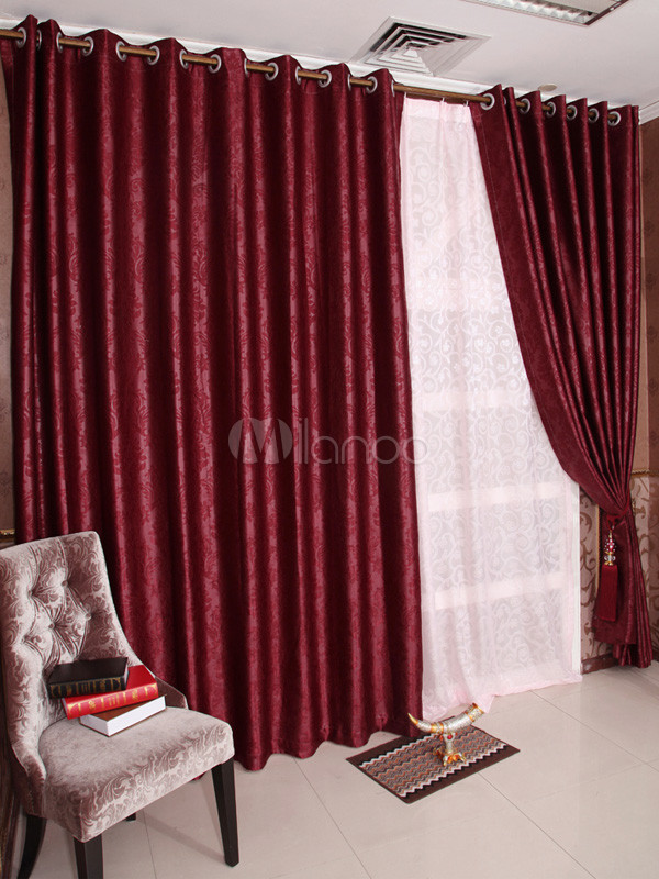 bordeaux jacquard polyester moderne stores rideaux. Black Bedroom Furniture Sets. Home Design Ideas