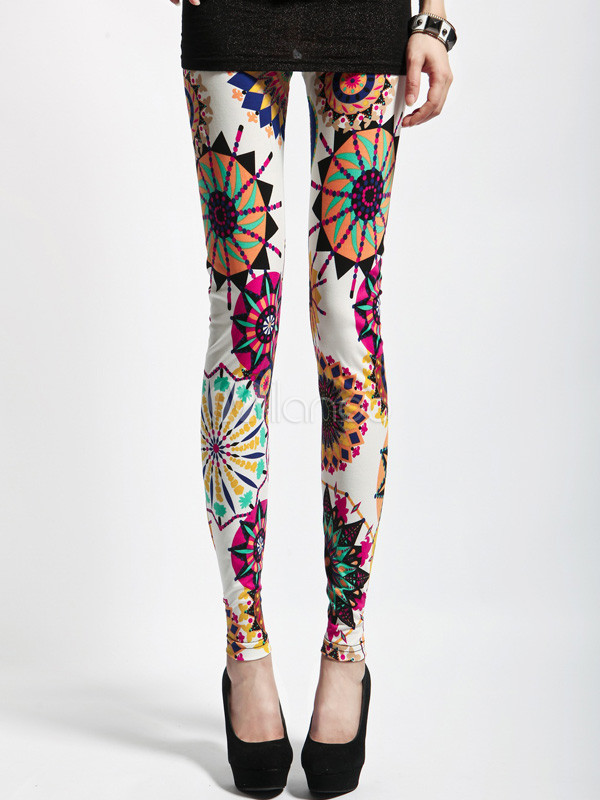Fantastic White Geometric Fashion Leggings For Women