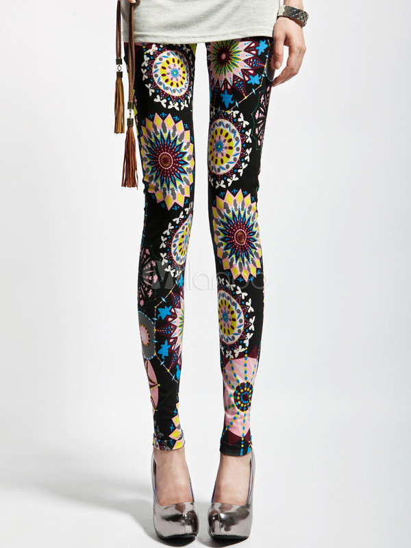 Black Geometric Women's Leggings