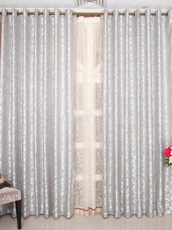 Cortinas elegantes poli ster jacquard gris fabulosos - Cortinas gris plata ...