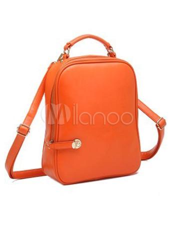 Orange PU Leather Backpack For Woman - Milanoo.com