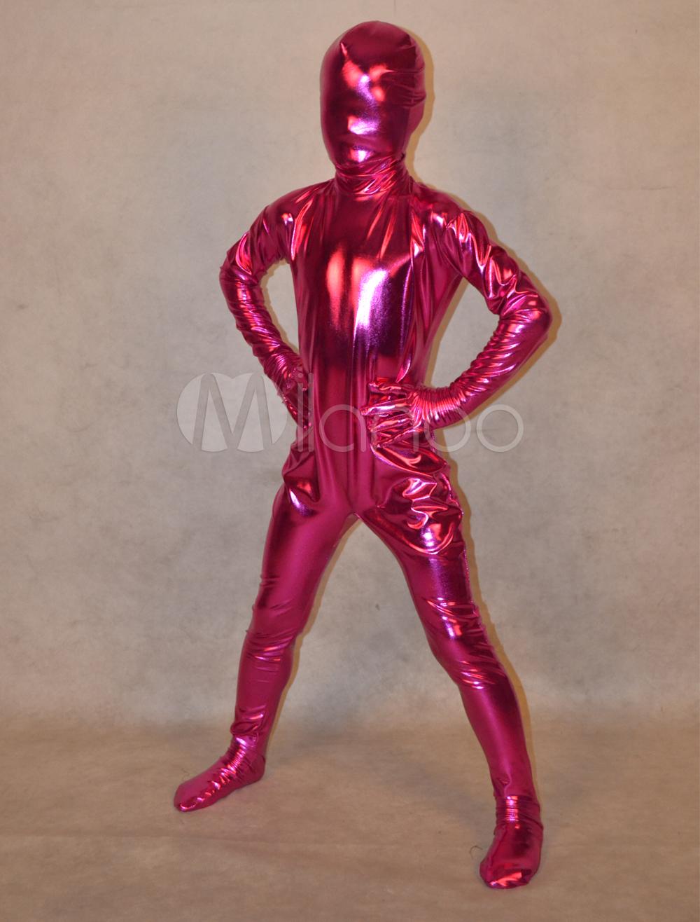 Fuchsia Shiny Metalic Full Body Unisex Kids Halloween Zentai