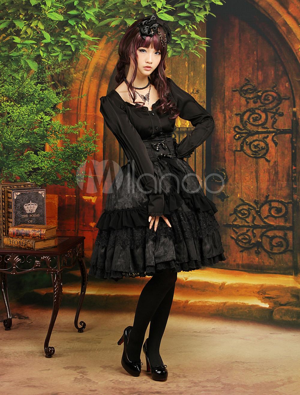 Gothic Black Layered Long Sleeves Elastic Silk Like Satin Jacquard Sweet Lolita Outfits