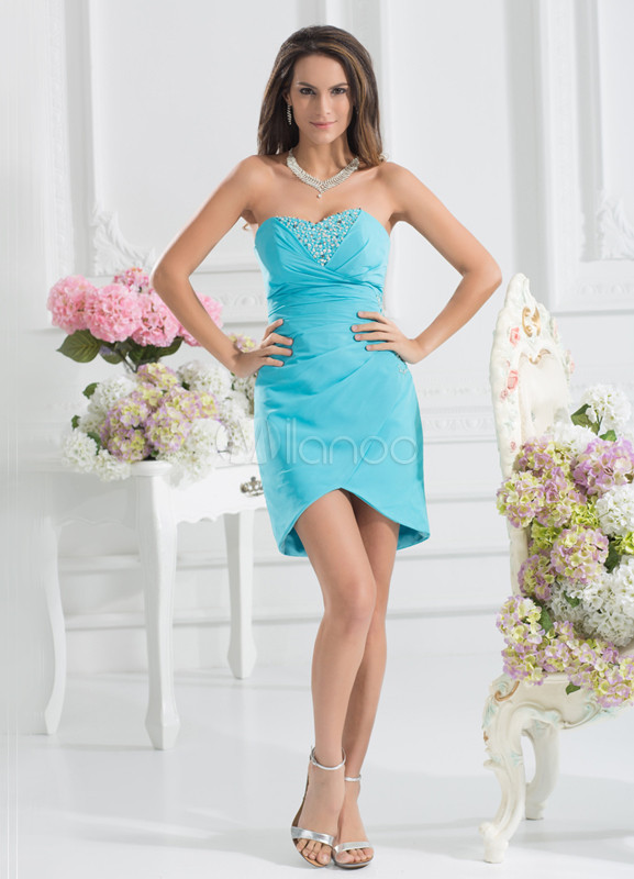 Elegant Sheath Blue Taffeta Beading Sweetheart Neck Asymmetrical Bridesmaid Dress