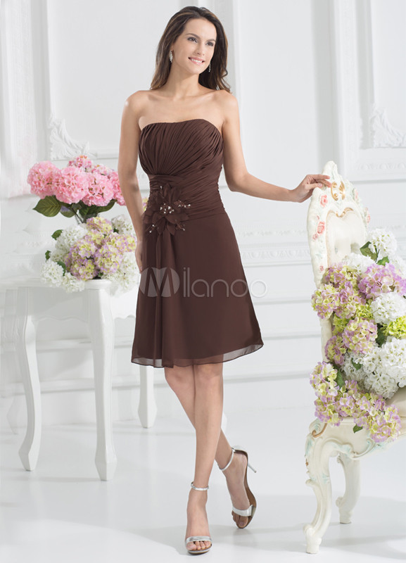 Cute A-line Chocolate Chiffon Pleated Strapless Knee-Length Bridesmaid Dress For Wedding