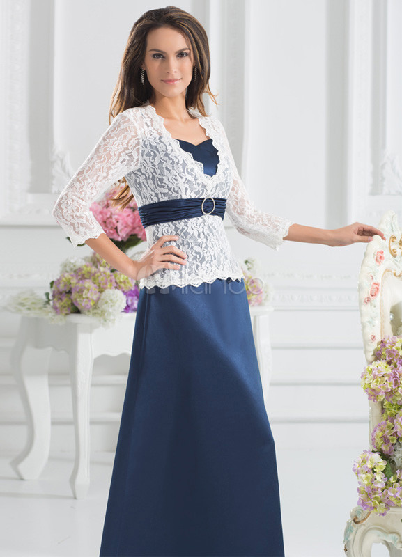 Elegant Dark Navy Lace Peplum High Collar Fashion Dress