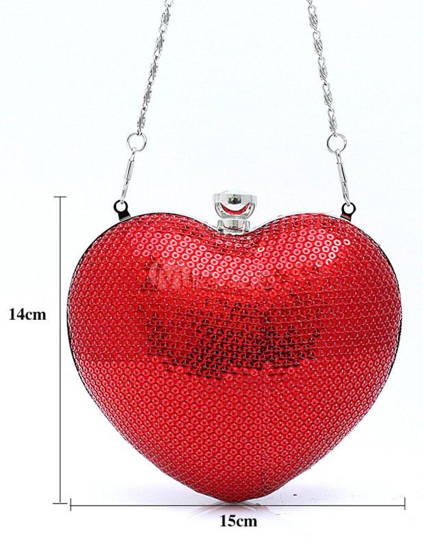 Beautiful Chain Heart Design Sequin Glitter Evening Bag