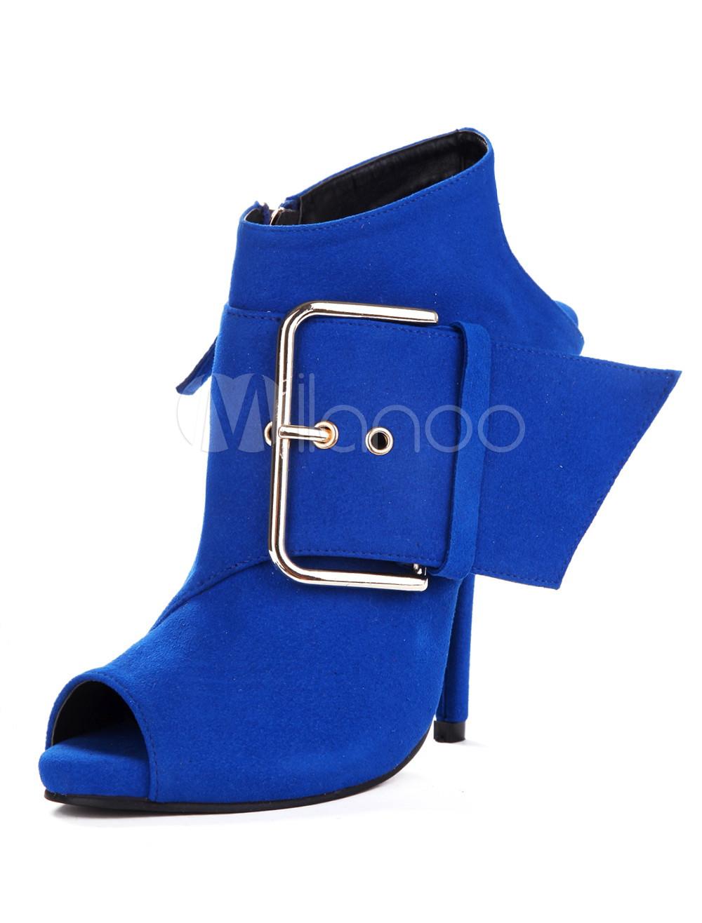 Royal Blue Peep Toe Suede High Heel Booties