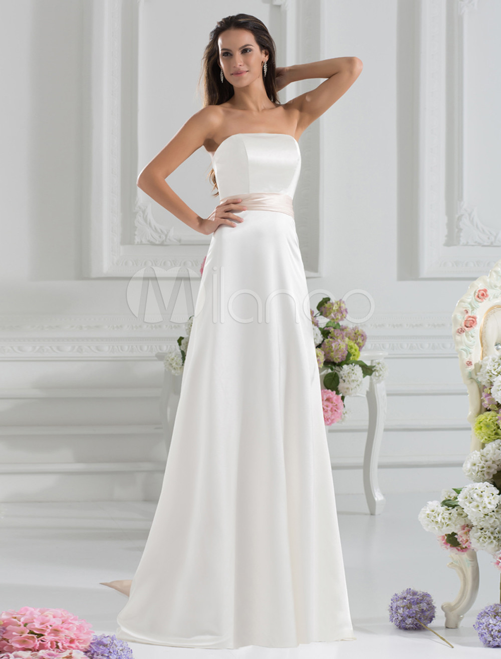 Graceful A-line Ivory Elastic Woven Satin Sash Strapless Floor-Length Bridesmaid Dress For Wedding