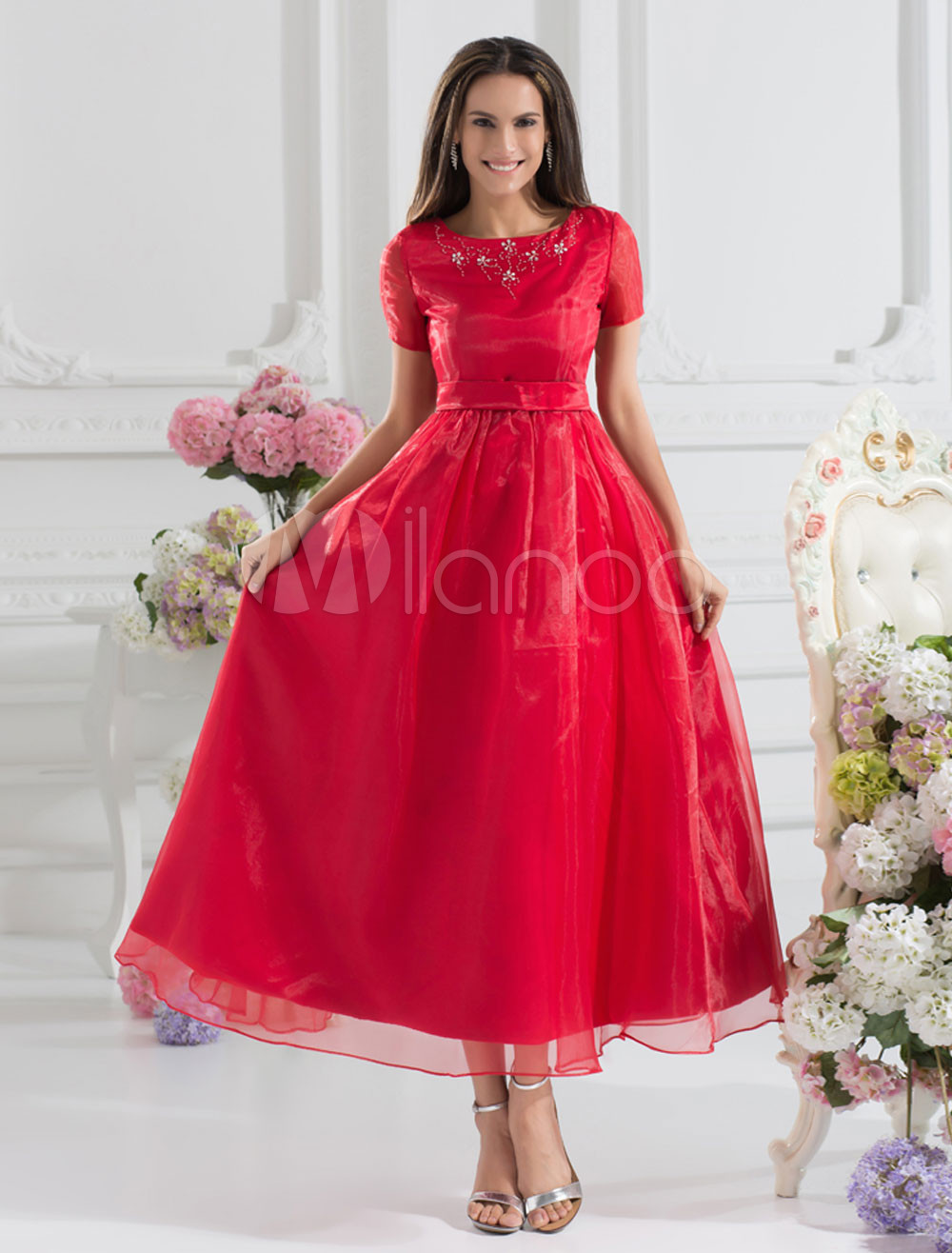 Beautiful Burgundy Organza Sash Jewel Neck Tea-Length Fashion Bridesmaid Dress
