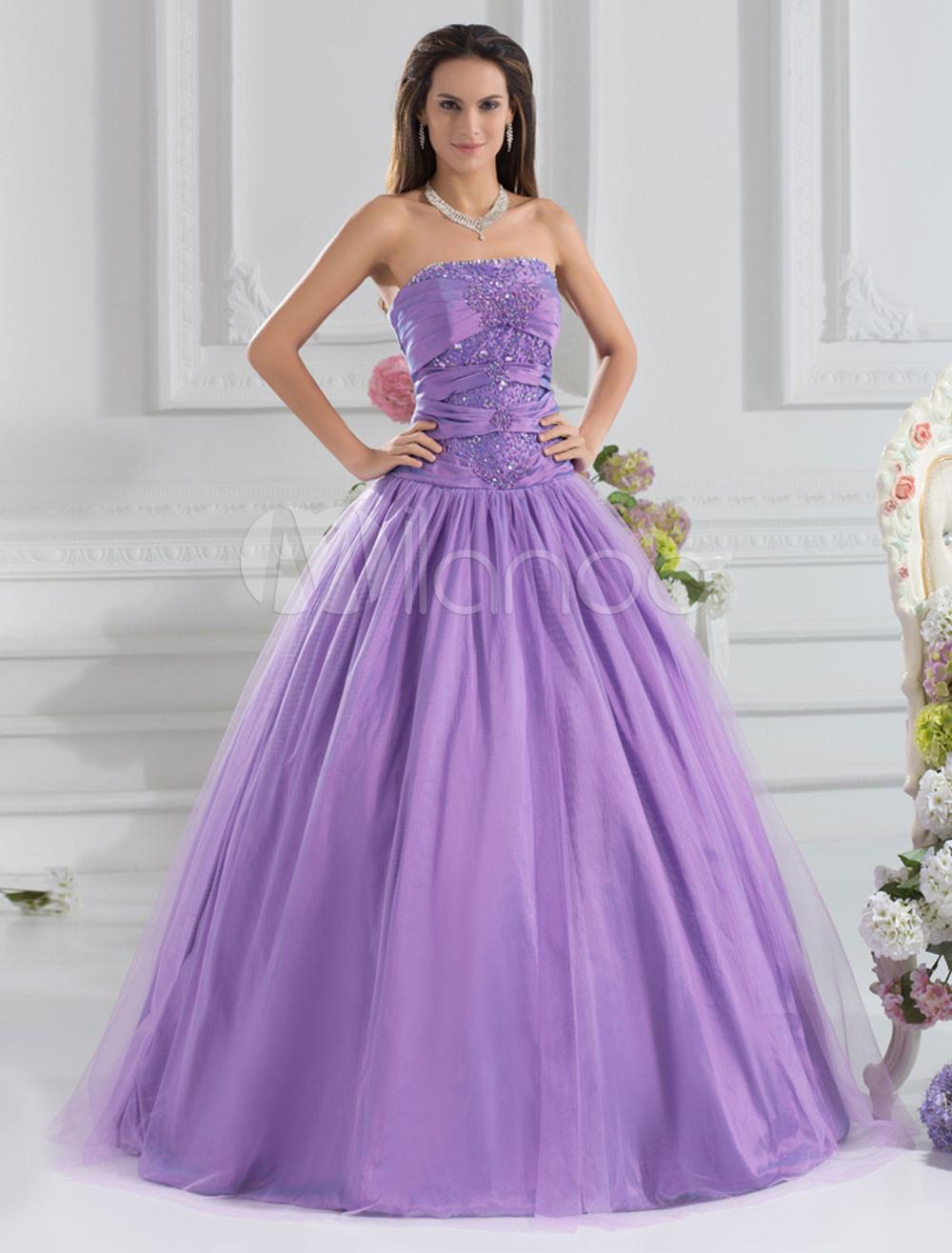 Formal Lilac Shiny Beading Taffeta Strapless Fashion Ball Gown