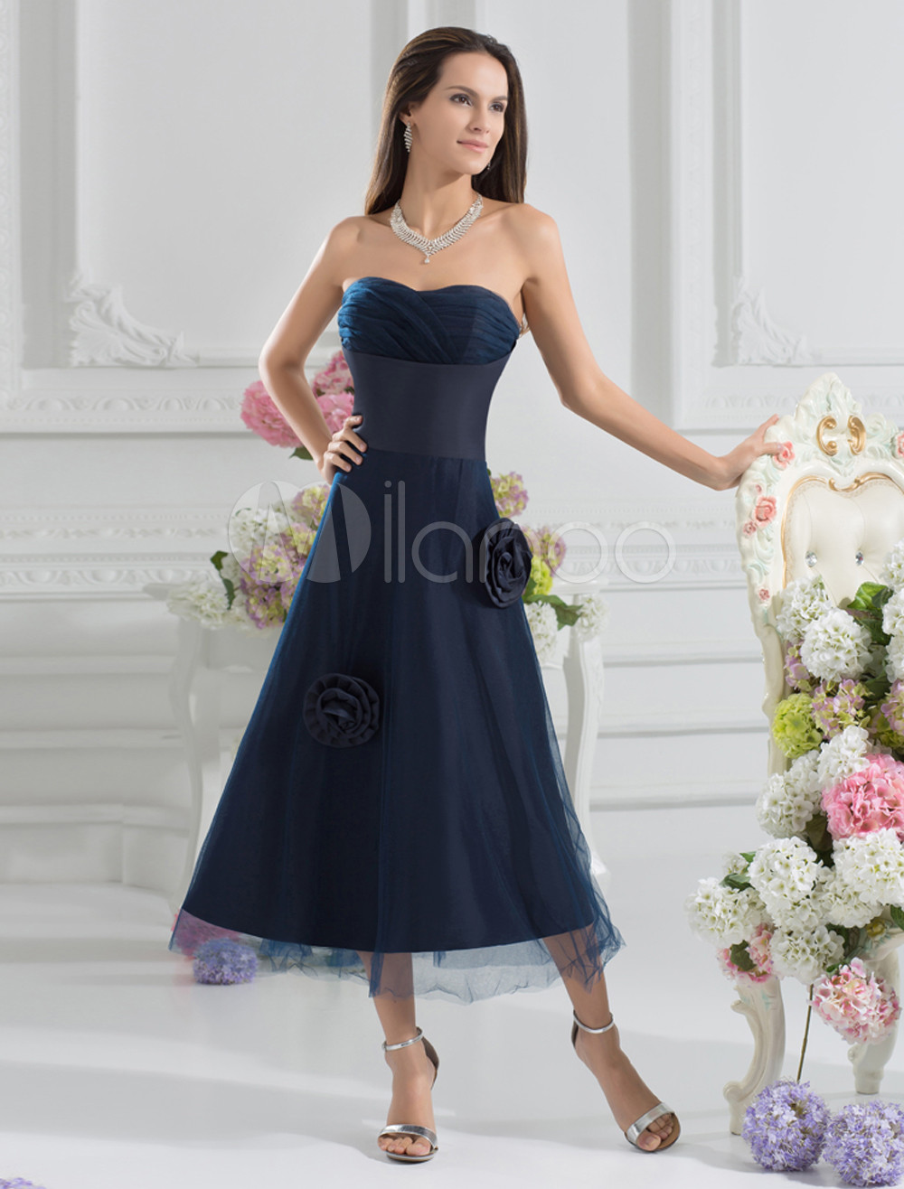 Grace A-line Dark Navy Tulle Flower Sweetheart Neck Bridesmaid Dress For Wedding