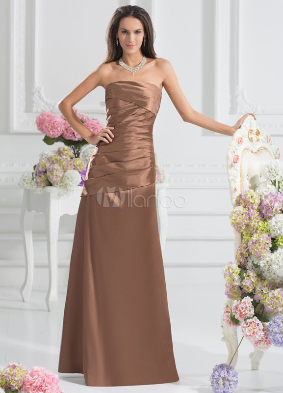 Grace A-line Brown Elastic Woven Satin Tiered Strapless Floor-Length Fashion Bridesmaid Dress