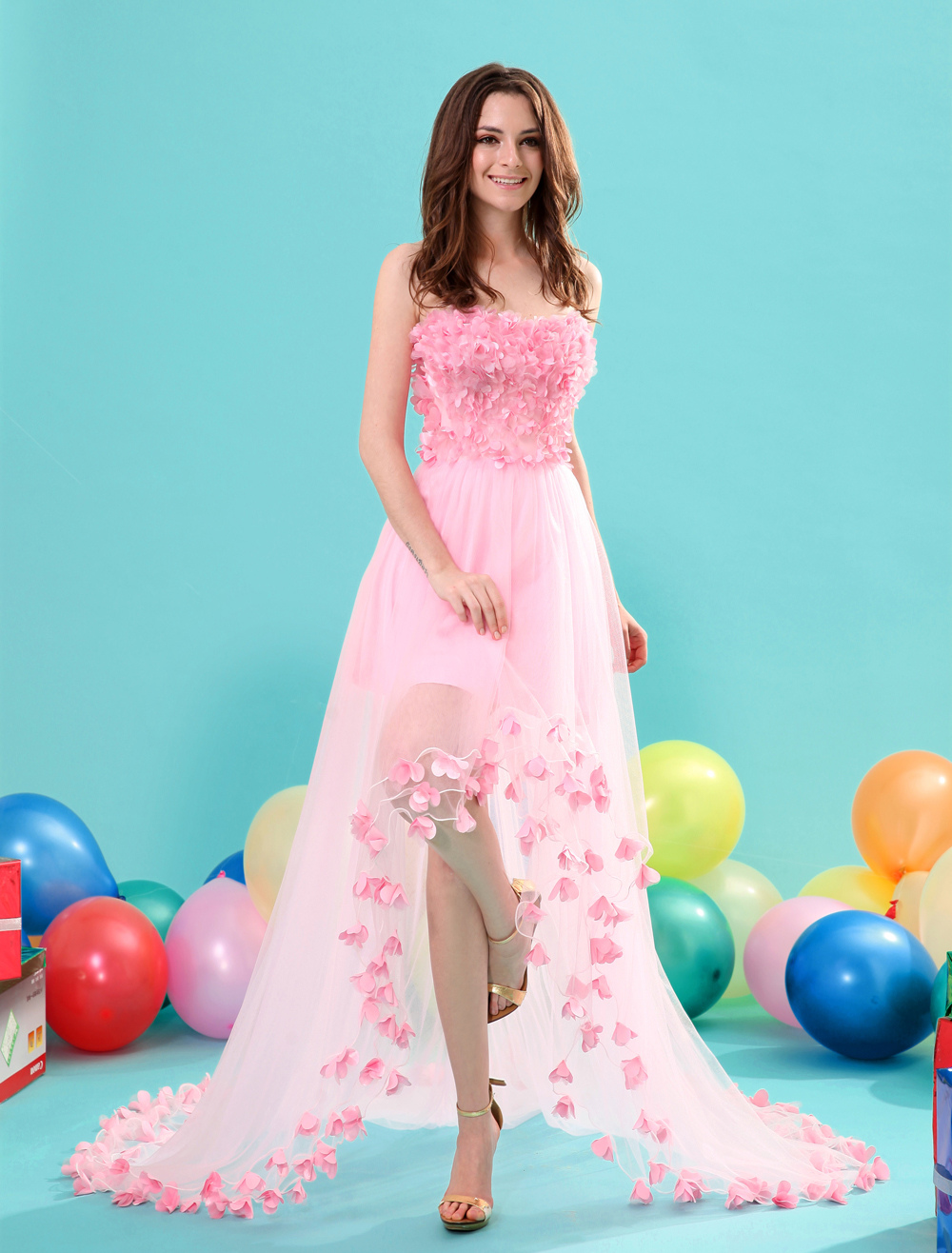Pink Strapless High-low Flower Prom Dress Milanoo (Wedding Prom Dresses) photo