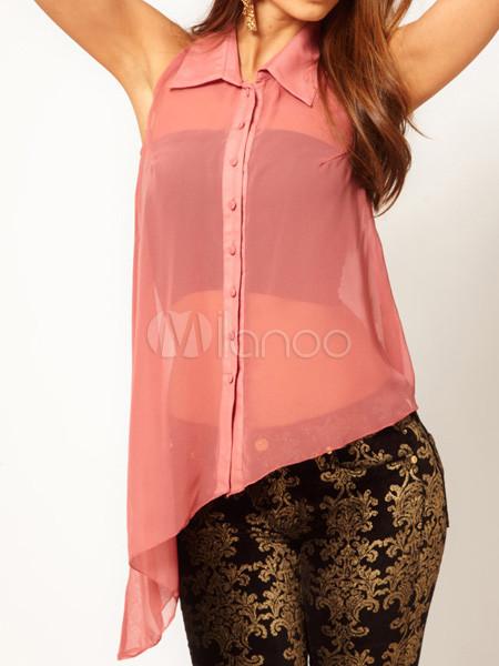 Blusa de chifón rosado sin mangas - Milanoo.com
