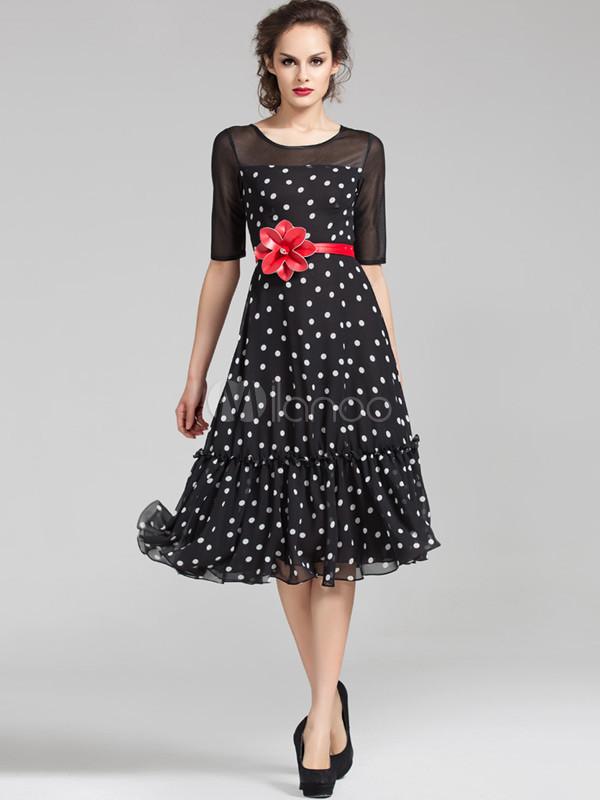 Платья шифоновые в горошек