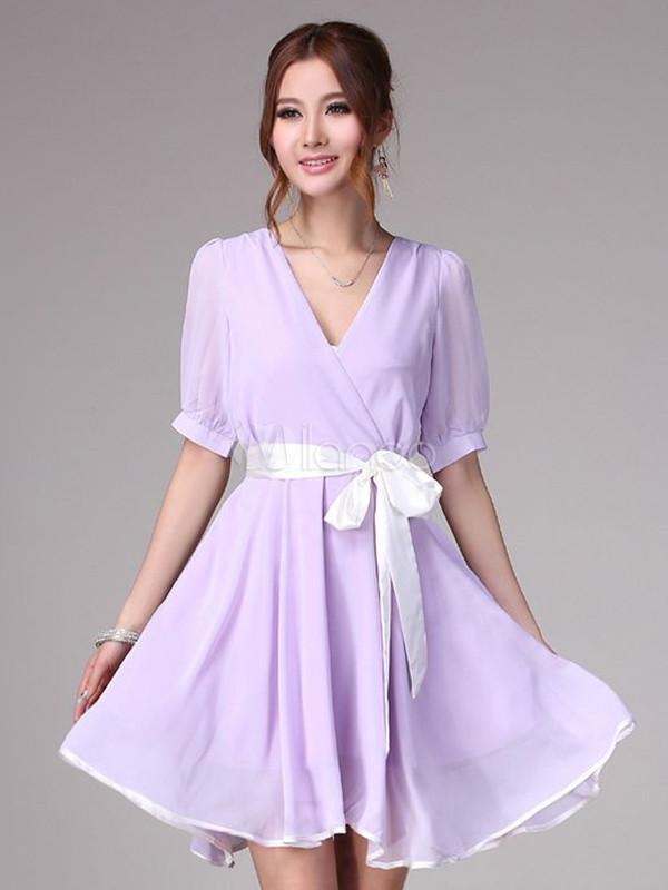 Elegant Lavender Chiffon V-Neck Half Sleeves Skater Dress ...