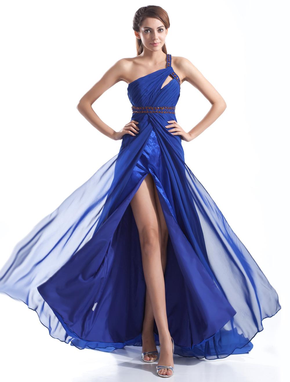 Graceful Royal Blue Chiffon Cut Out One-Shoulder Sexy Evening Dress (Wedding Evening Dresses) photo