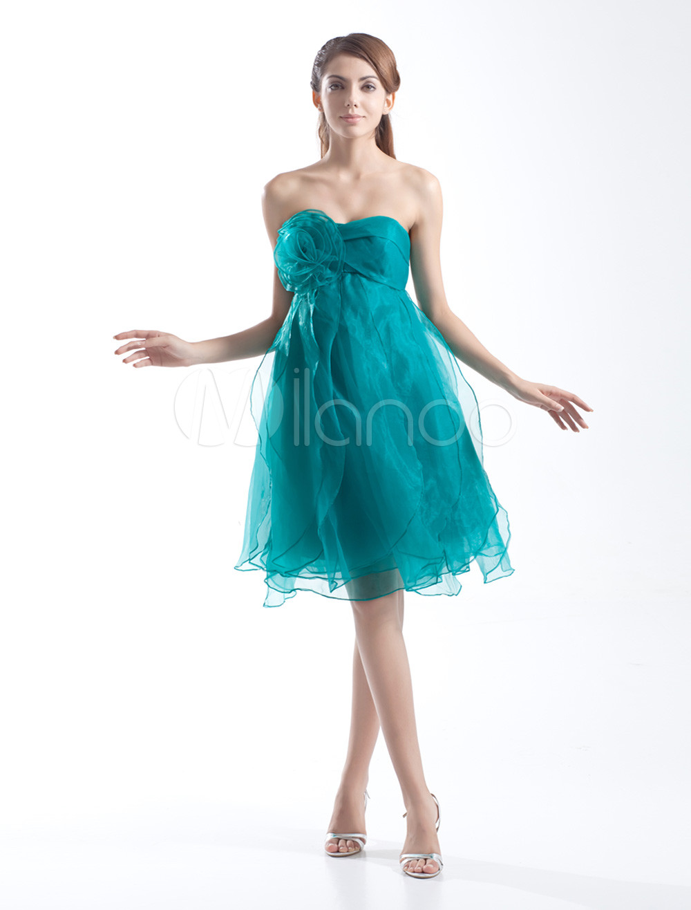Modern A-line Hunter Green Organza Flower Strapless Knee-Length Wedding Bridesmaid Dress