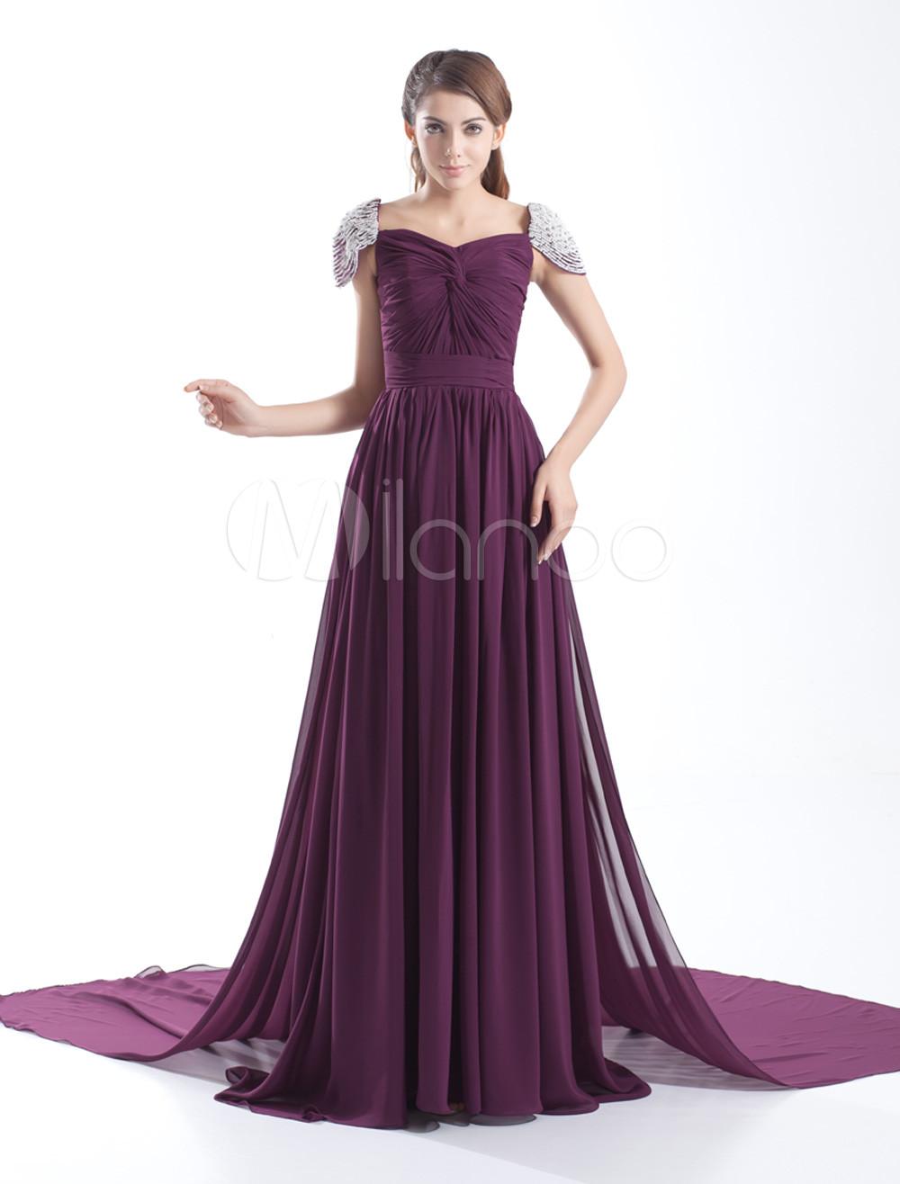 Grace Grape Chiffon Twisted Square Neck Women's Evening Dress (Wedding Evening Dresses) photo