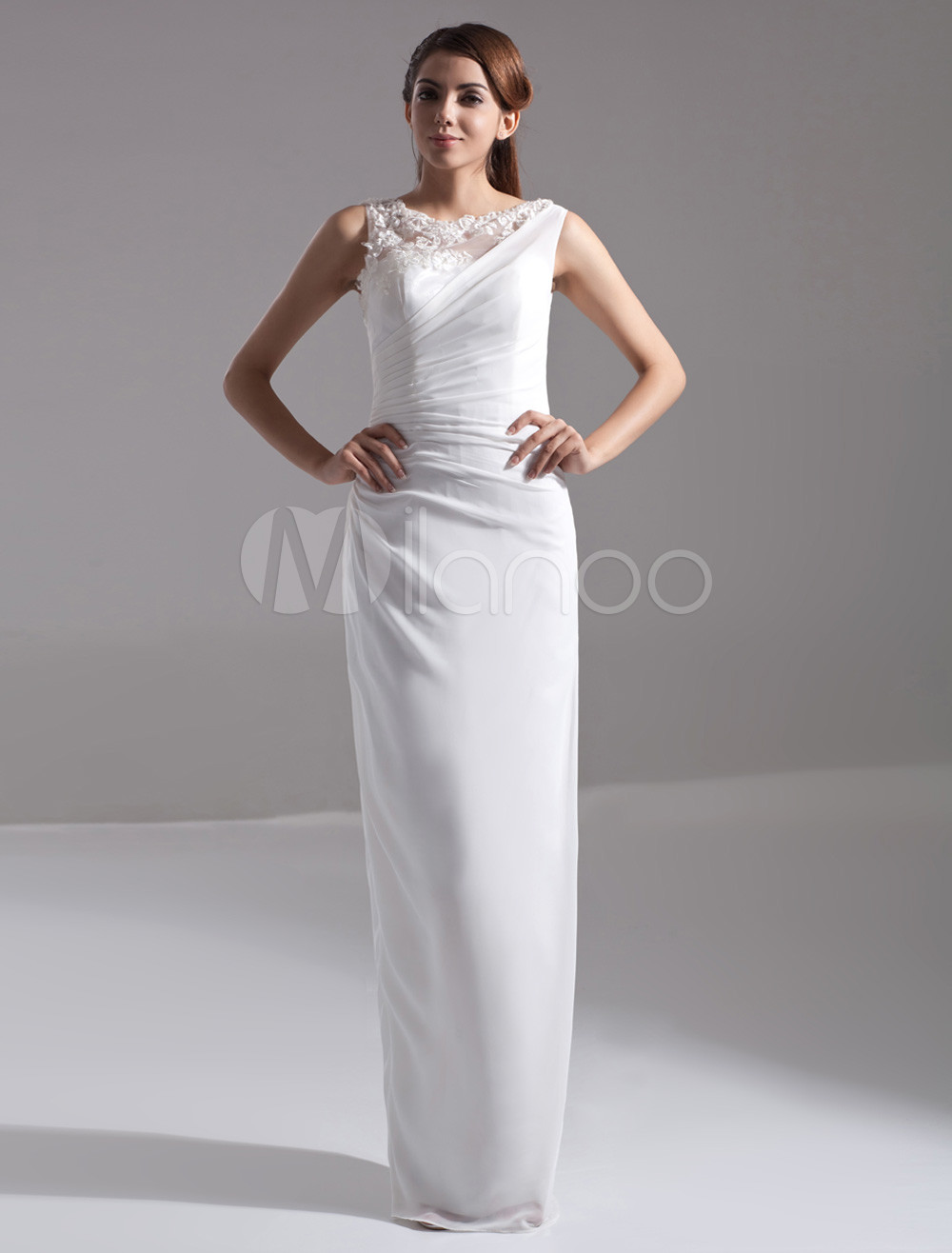Beautiful White Chiffon Lace Jewel Neck Floor-Length Bridesmaid Dress For Wedding