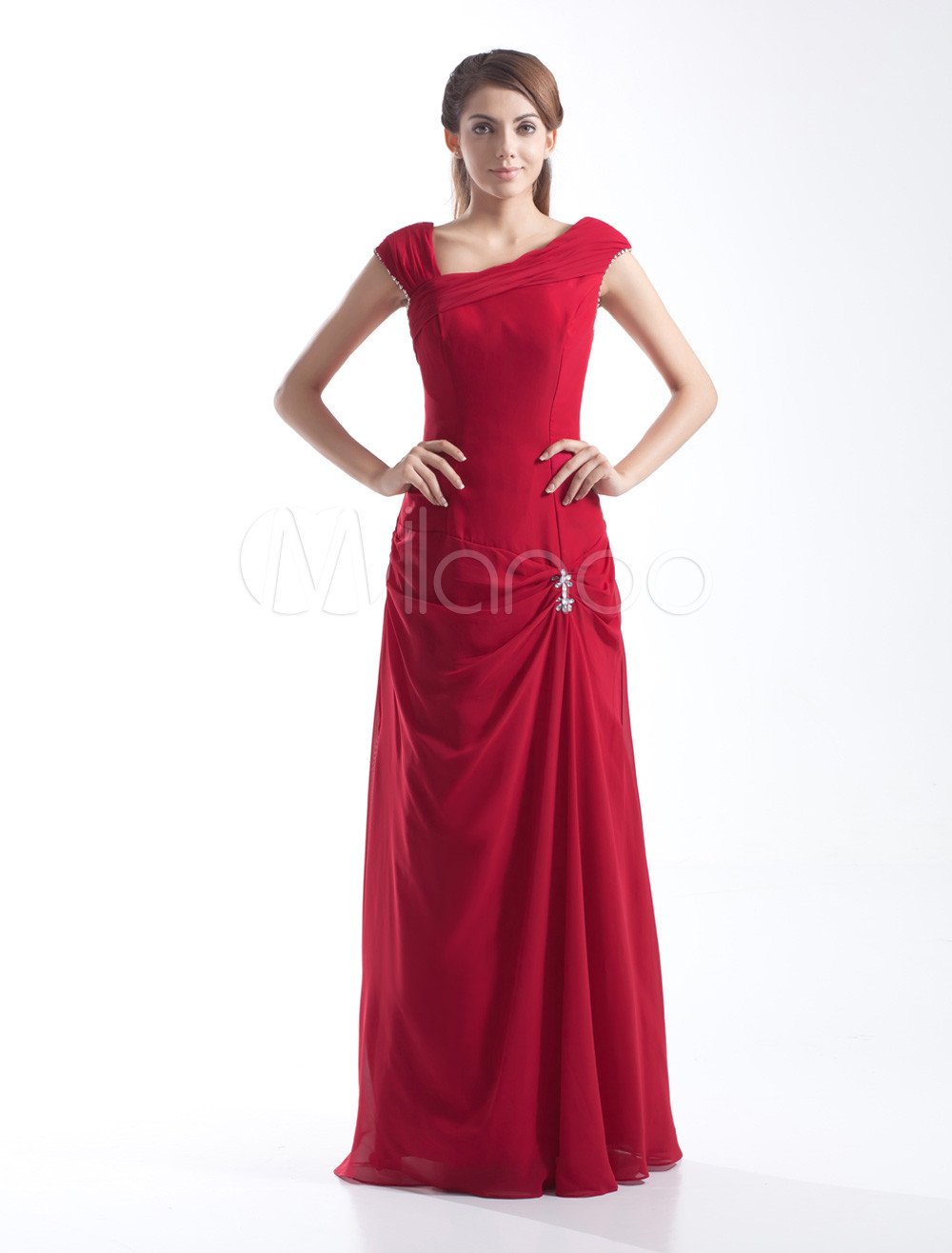 Sheath Red Chiffon Pleated Cowl Neck Floor-Length Fashion Bridesmaid Dress