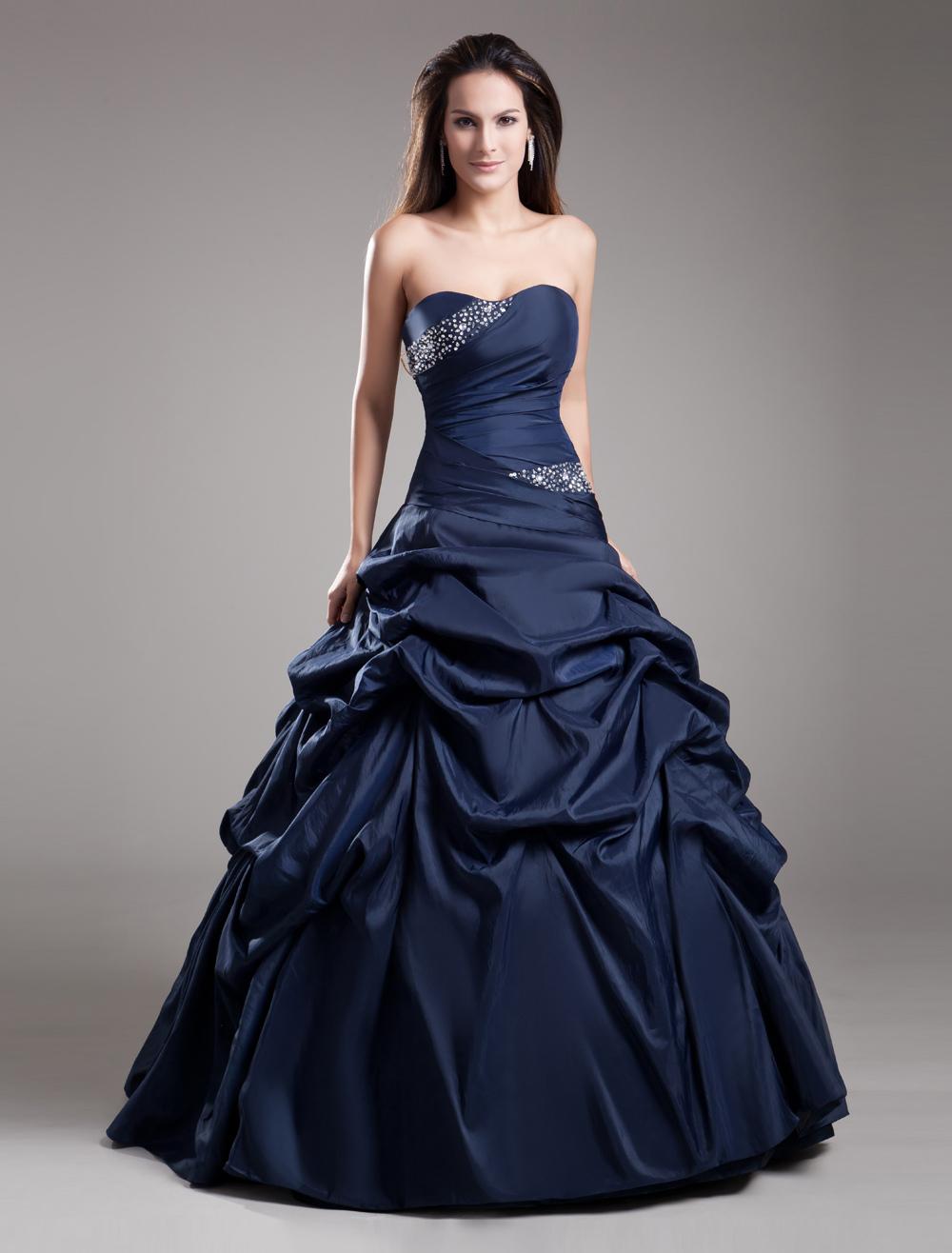 Elegant Formal Dark Navy Tiered Beading Taffeta Sweetheart Neck Women's Ball Gown
