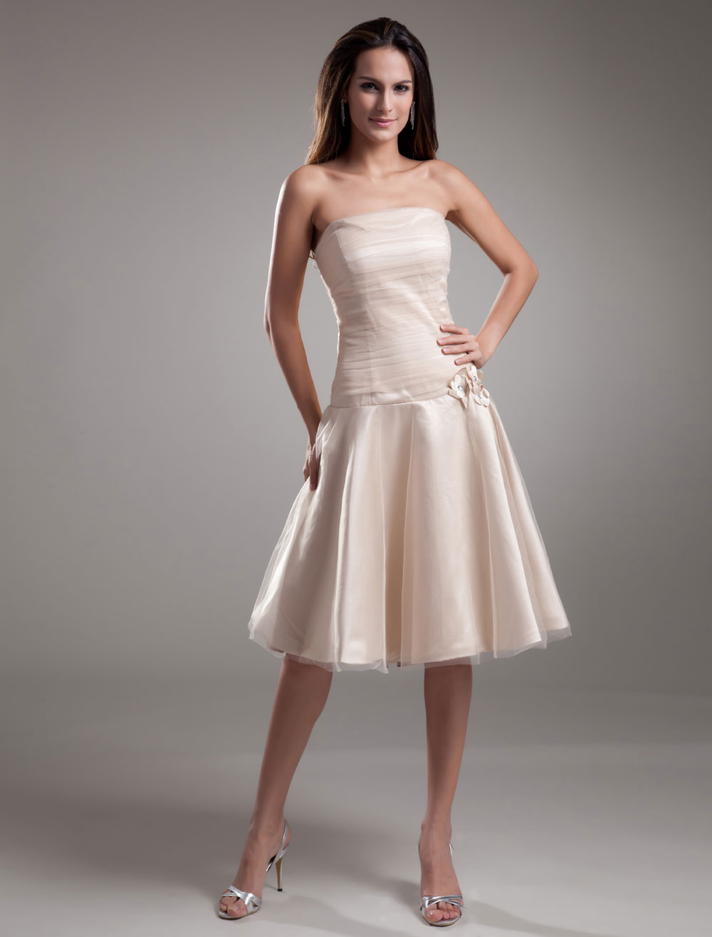 Gold Champagne Bridesmaid Dress Strapless Flowers Tulle Dress