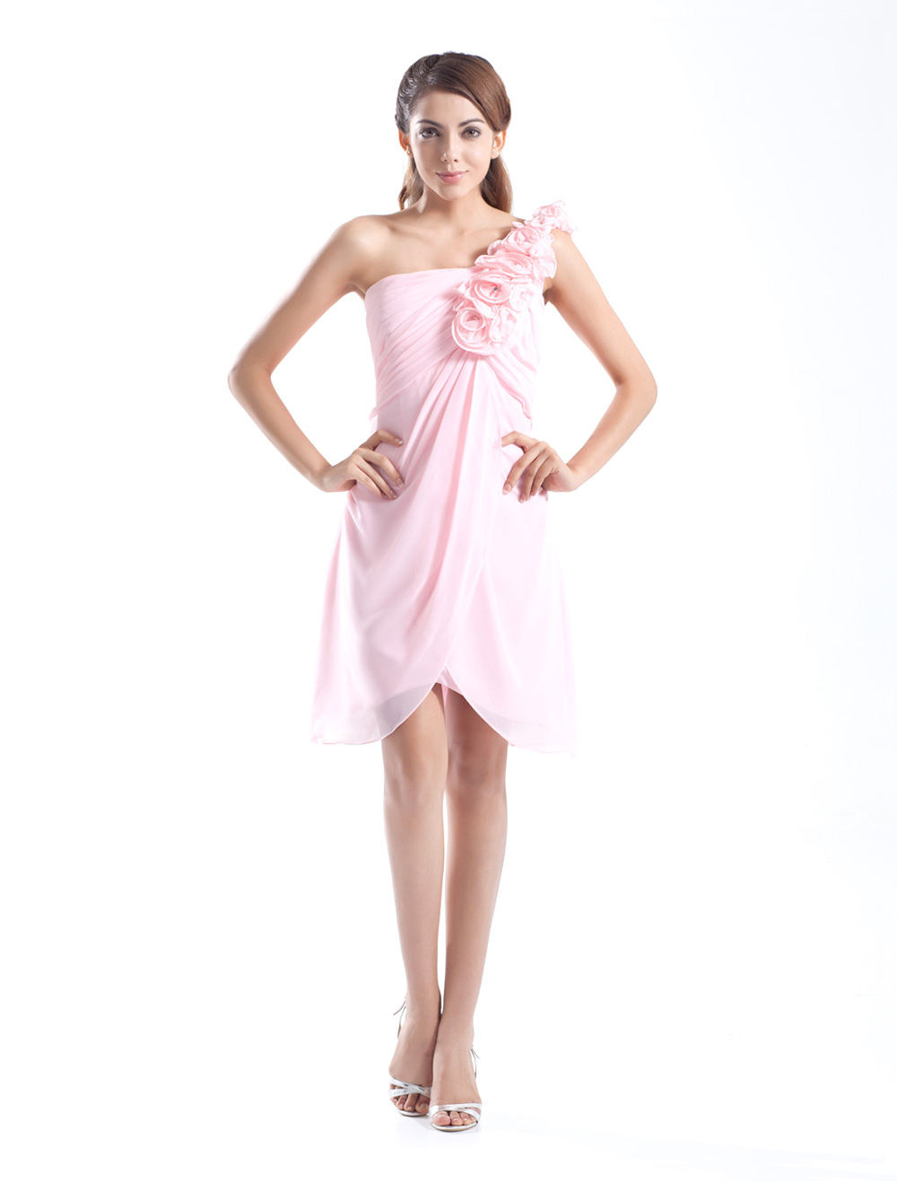 Sweet A-line Pink Chiffon Flower One-Shoulder Knee-Length Fashion Bridesmaid Dress