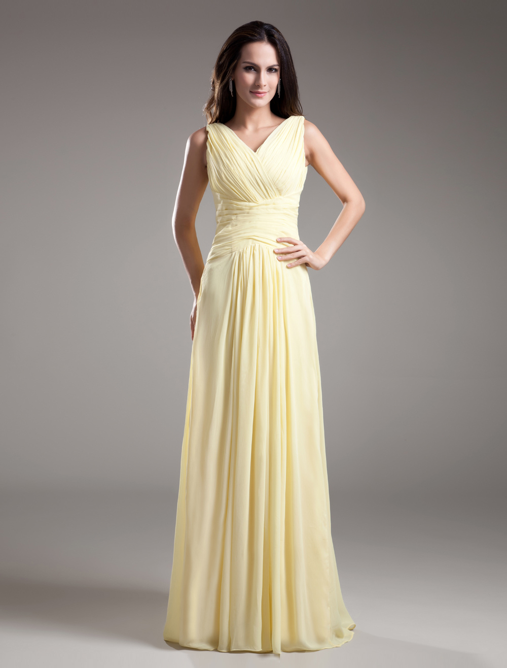 Beautiful A-line Daffodil Chiffon Pleated V-Neck Floor-Length Bridesmaid Dress For Wedding