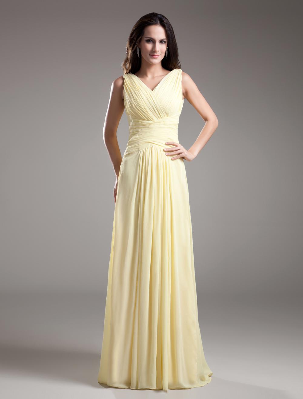 V-Neck Long Ruched Bridesmaid Dress